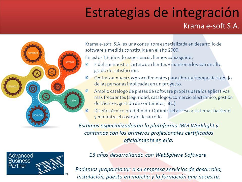 Estrategias de integración Krama e-soft S.A. Estrategias de integración Krama e-soft S.A. Krama e-soft, S.A. es una consultora especializada en desarr