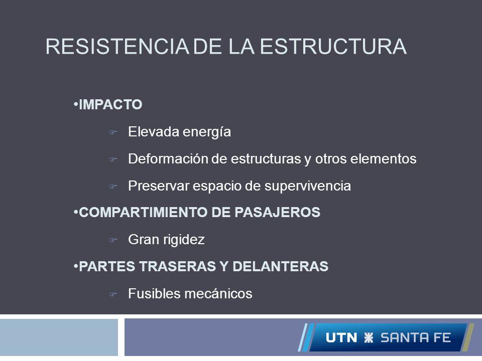RESISTENCIA DE LA ESTRUCTURA IMPACTO Elevada energía Deformación de estructuras y otros elementos Preservar espacio de supervivencia COMPARTIMIENTO DE