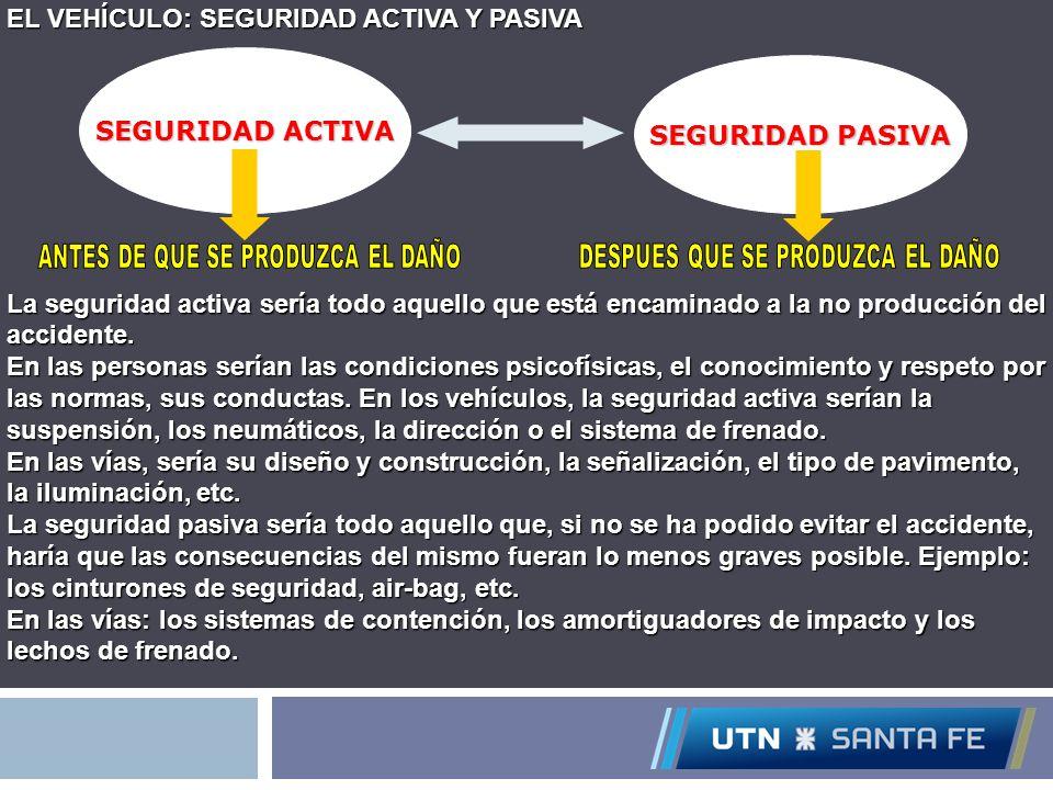 EL VEHÍCULO: SEGURIDAD ACTIVA Y PASIVA La seguridad activa sería todo aquello que está encaminado a la no producción del accidente. En las personas se