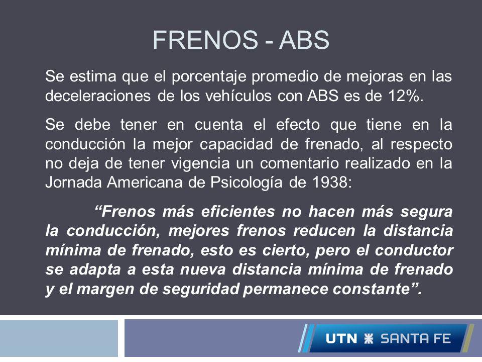 FRENOS - ABS Se estima que el porcentaje promedio de mejoras en las deceleraciones de los vehículos con ABS es de 12%. Se debe tener en cuenta el efec