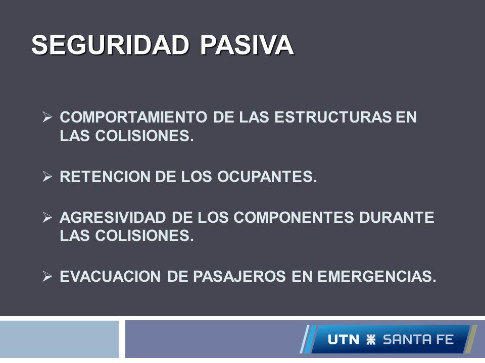 SEGURIDAD PASIVA COMPORTAMIENTO DE LAS ESTRUCTURAS EN LAS COLISIONES. RETENCION DE LOS OCUPANTES. AGRESIVIDAD DE LOS COMPONENTES DURANTE LAS COLISIONE