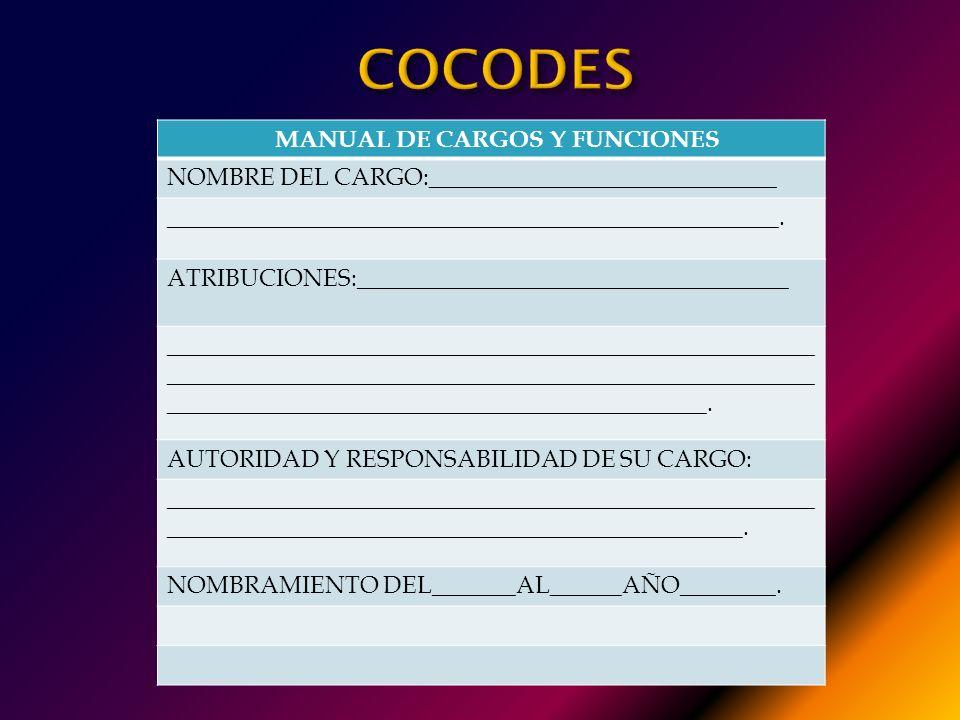 2. MANUAL DE CARGOS Y FUNCIONES : Persigue indicar para cada cargo del COCODE, la siguiente información: 1. Nombre del Cargo. 2. Atribuciones. 3. Auto