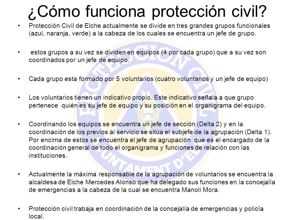 ¿Cómo funciona protección civil? Protección Civil de Elche actualmente se divide en tres grandes grupos funcionales (azul, naranja, verde) a la cabeza