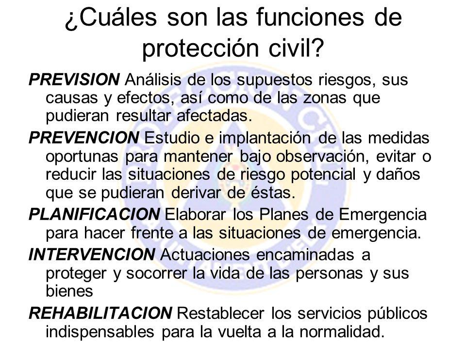 ¿Cuáles son las funciones de protección civil? PREVISION Análisis de los supuestos riesgos, sus causas y efectos, así como de las zonas que pudieran r