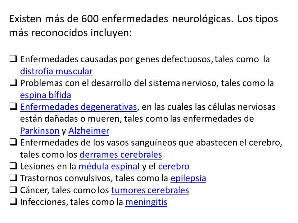 Existen más de 600 enfermedades neurológicas. Los tipos más reconocidos incluyen: Enfermedades causadas por genes defectuosos, tales como la distrofia