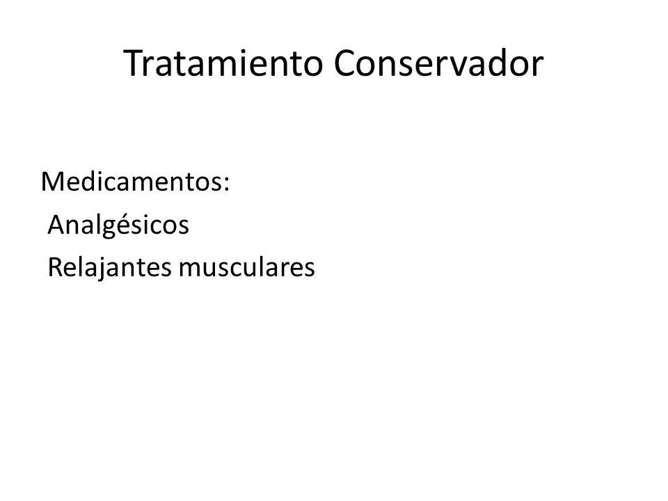 Tratamiento Conservador Medicamentos: Analgésicos Relajantes musculares