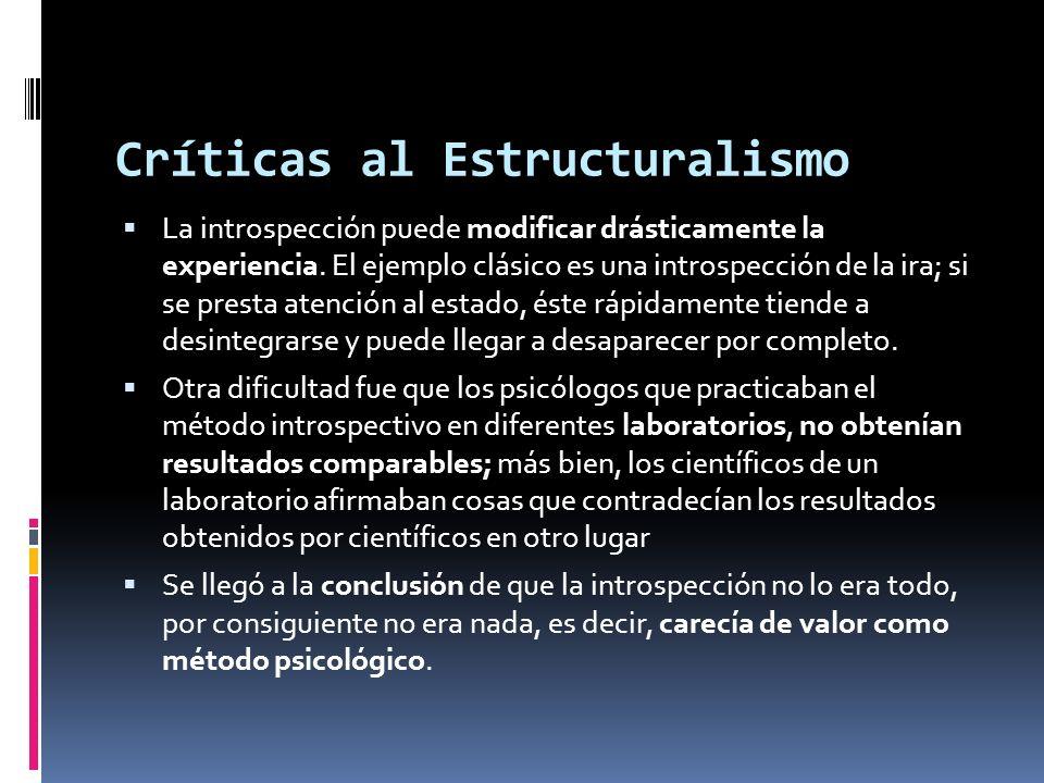 Críticas al Estructuralismo La introspección puede modificar drásticamente la experiencia. El ejemplo clásico es una introspección de la ira; si se pr