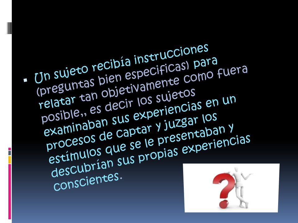 Un sujeto recibía instrucciones (preguntas bien especificas) para relatar tan objetivamente como fuera posible,, es decir los sujetos examinaban sus e