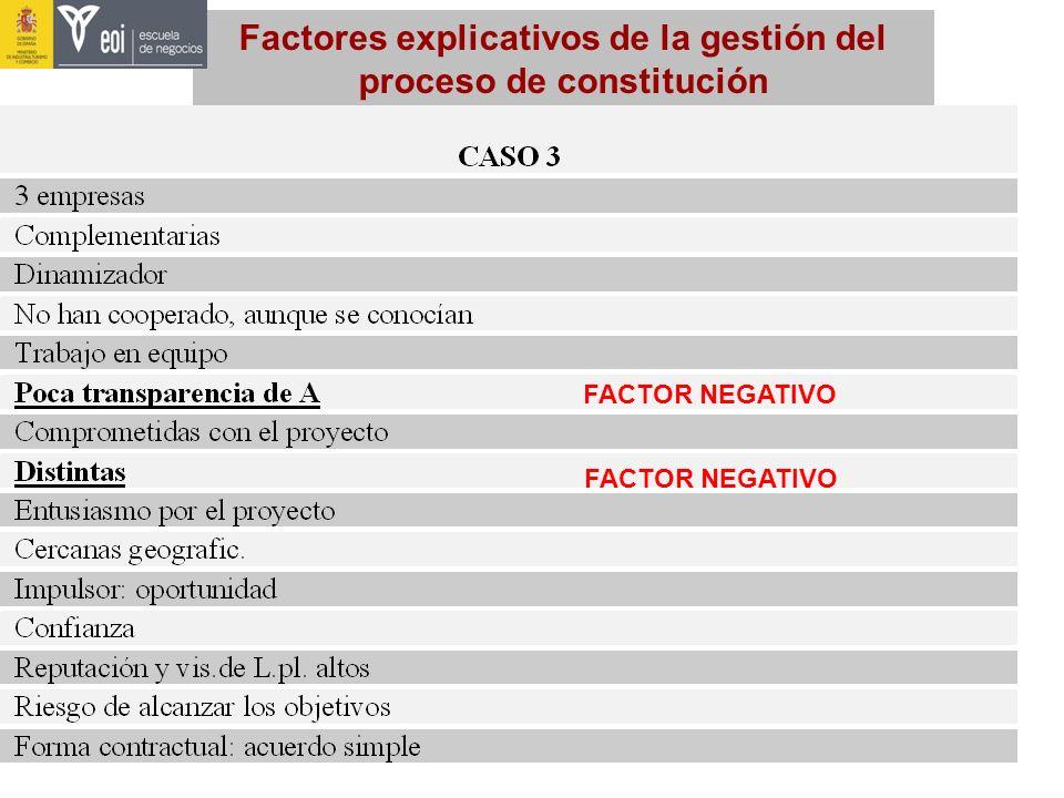 Factores explicativos de la gestión del proceso de constitución FACTOR NEGATIVO