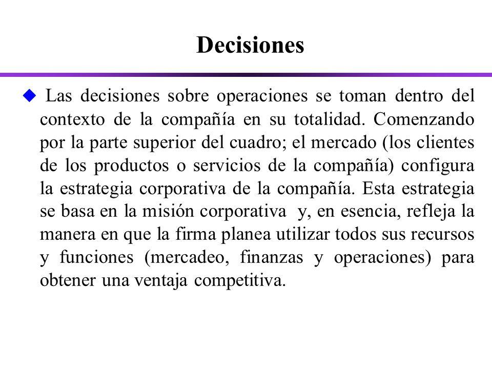 Decisiones u Las decisiones sobre operaciones se toman dentro del contexto de la compañía en su totalidad.