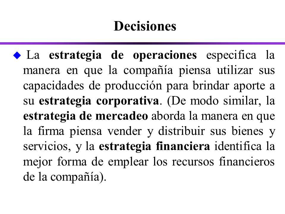 Decisiones u La estrategia de operaciones especifica la manera en que la compañía piensa utilizar sus capacidades de producción para brindar aporte a su estrategia corporativa.