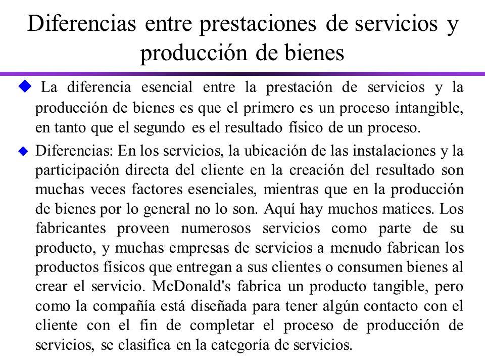 Diferencias entre prestaciones de servicios y producción de bienes u La diferencia esencial entre la prestación de servicios y la producción de bienes es que el primero es un proceso intangible, en tanto que el segundo es el resultado físico de un proceso.