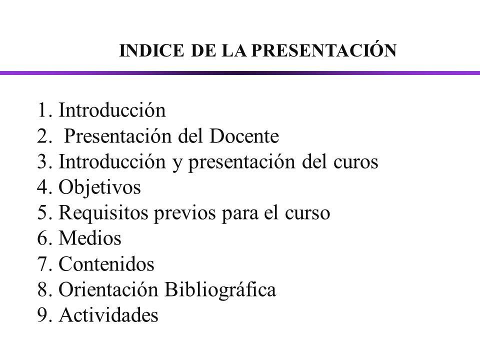 1.Introducción 2. Presentación del Docente 3. Introducción y presentación del curos 4.