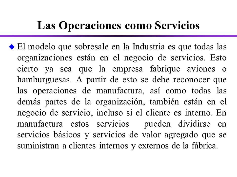 Las Operaciones como Servicios u El modelo que sobresale en la Industria es que todas las organizaciones están en el negocio de servicios.