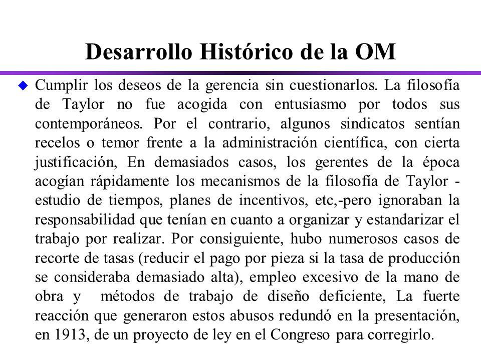 Desarrollo Histórico de la OM u Cumplir los deseos de la gerencia sin cuestionarlos.