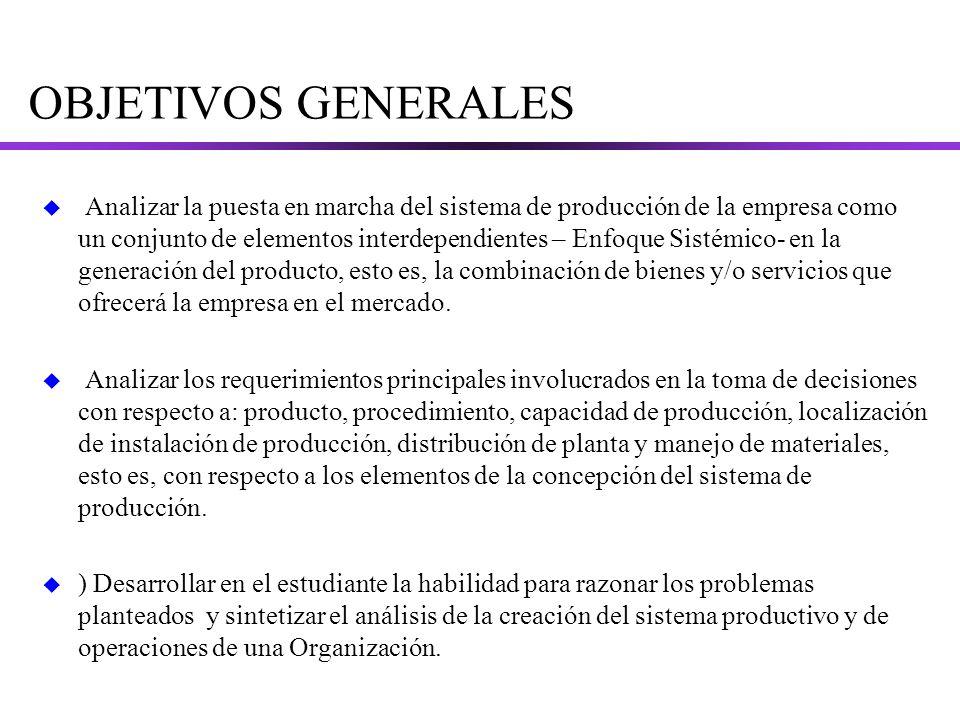 OBJETIVOS GENERALES u Analizar la puesta en marcha del sistema de producción de la empresa como un conjunto de elementos interdependientes – Enfoque Sistémico- en la generación del producto, esto es, la combinación de bienes y/o servicios que ofrecerá la empresa en el mercado.