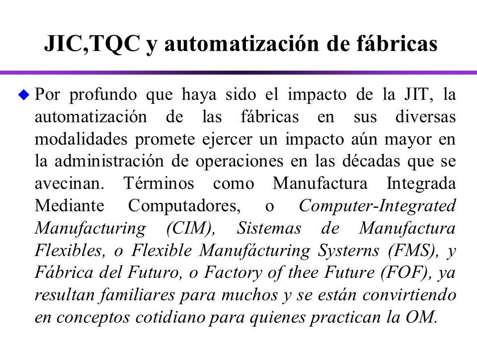 JIC,TQC y automatización de fábricas u Por profundo que haya sido el impacto de la JIT, la automatización de las fábricas en sus diversas modalidades promete ejercer un impacto aún mayor en la administración de operaciones en las décadas que se avecinan.
