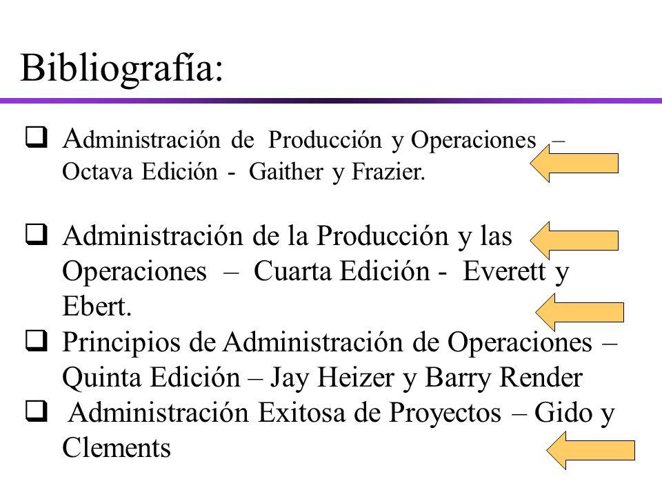 Bibliografía: A dministración de Producción y Operaciones – Octava Edición - Gaither y Frazier.