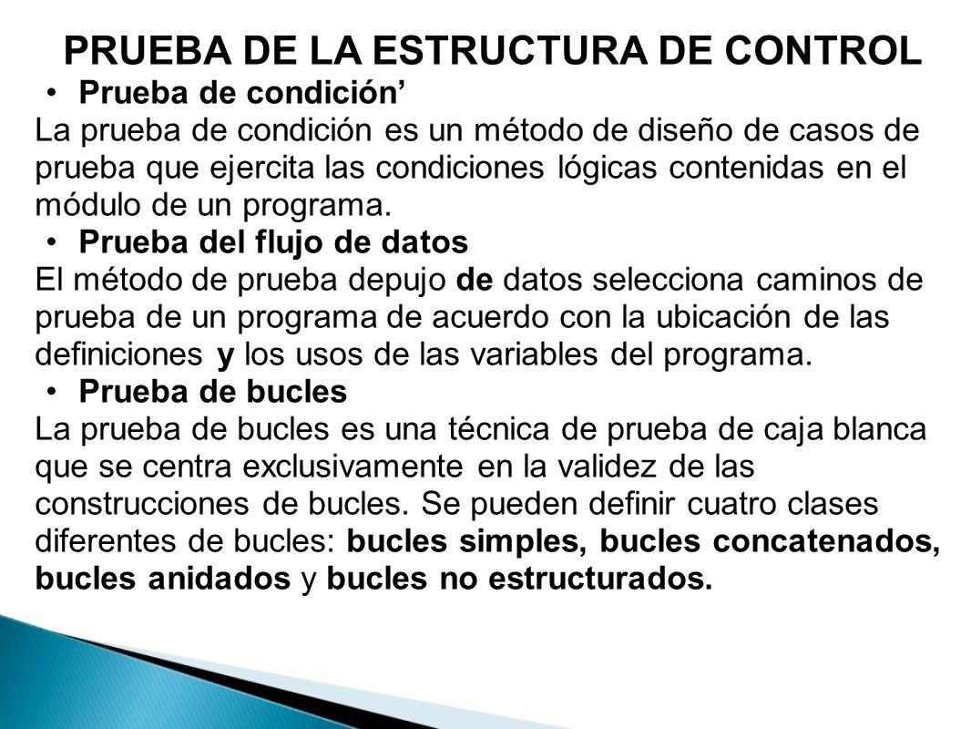 PRUEBA DE LA ESTRUCTURA DE CONTROL Prueba de condición La prueba de condición es un método de diseño de casos de prueba que ejercita las condiciones l