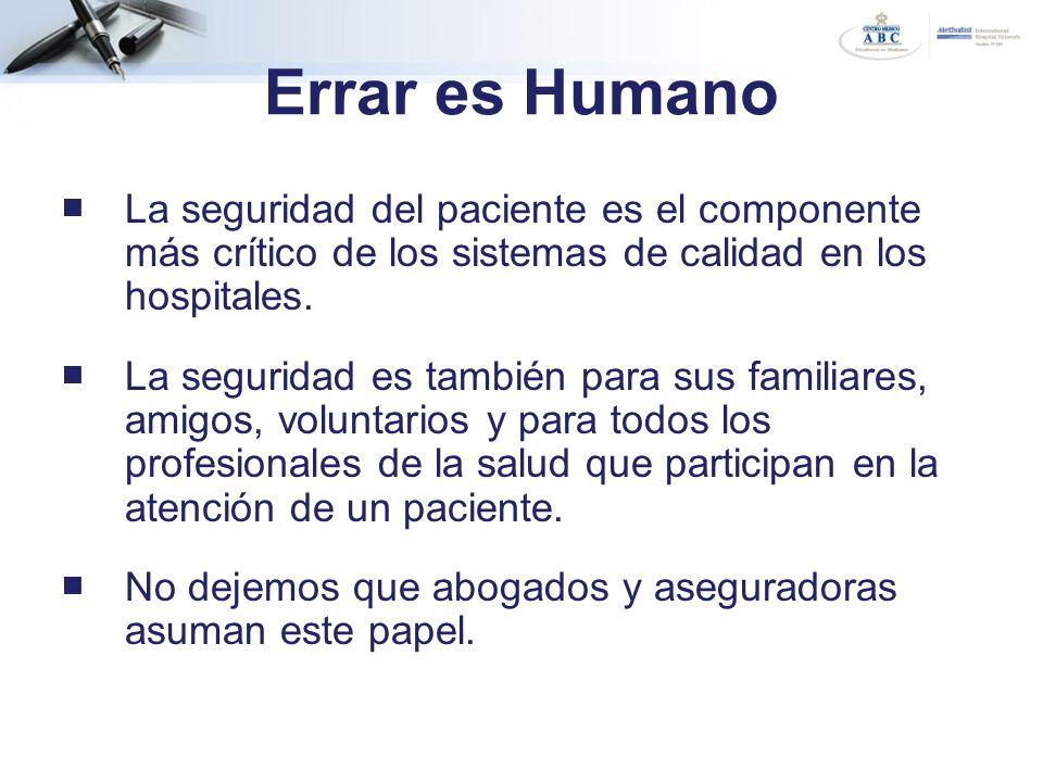 Errar es Humano La seguridad del paciente es el componente más crítico de los sistemas de calidad en los hospitales. La seguridad es también para sus