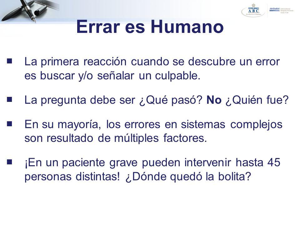 Errar es Humano La primera reacción cuando se descubre un error es buscar y/o señalar un culpable. La pregunta debe ser ¿Qué pasó? No ¿Quién fue? En s