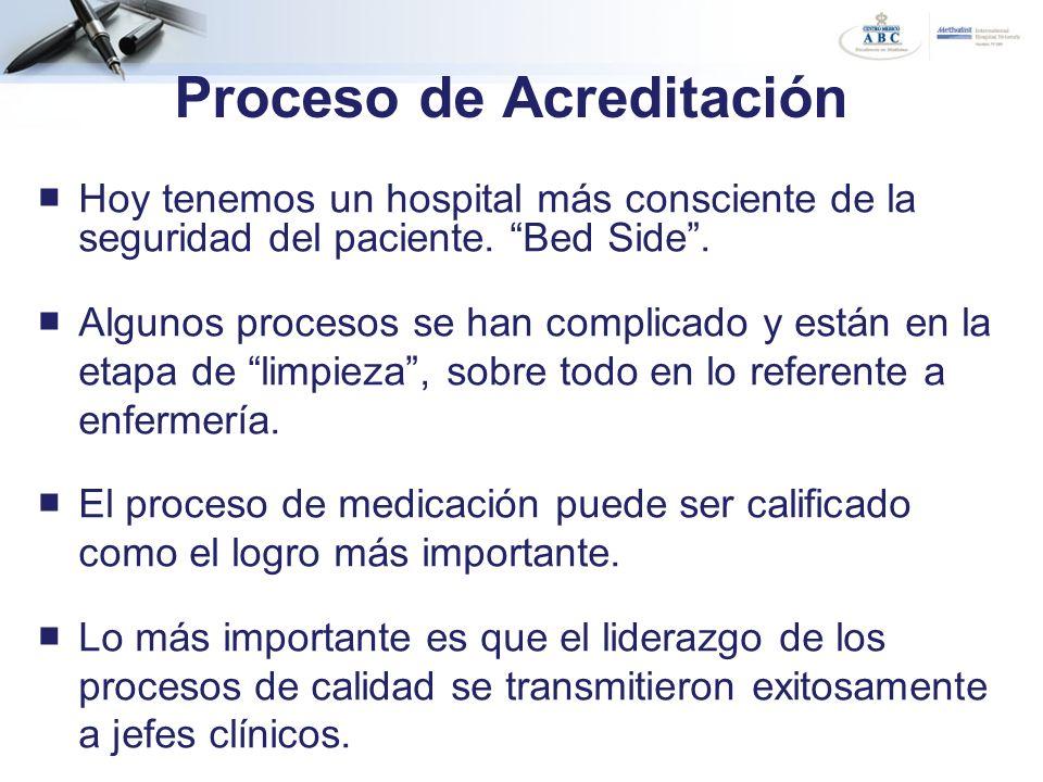 Hoy tenemos un hospital más consciente de la seguridad del paciente. Bed Side. Algunos procesos se han complicado y están en la etapa de limpieza, sob