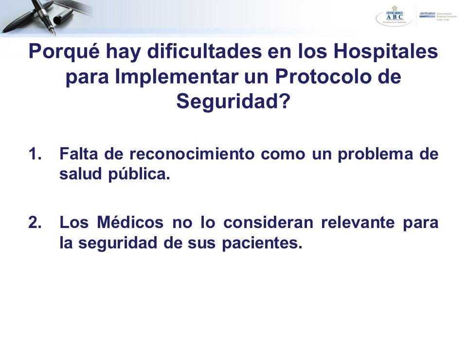 1.Falta de reconocimiento como un problema de salud pública. 2.Los Médicos no lo consideran relevante para la seguridad de sus pacientes. Porqué hay d