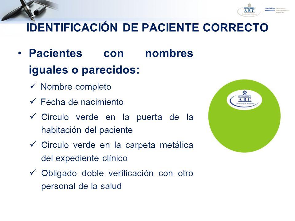 Pacientes con nombres iguales o parecidos: Nombre completo Fecha de nacimiento Circulo verde en la puerta de la habitación del paciente Circulo verde