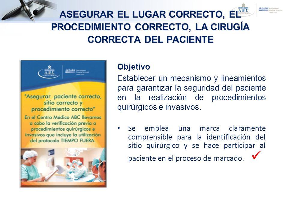 ASEGURAR EL LUGAR CORRECTO, EL PROCEDIMIENTO CORRECTO, LA CIRUGÍA CORRECTA DEL PACIENTE Objetivo Establecer un mecanismo y lineamientos para garantiza