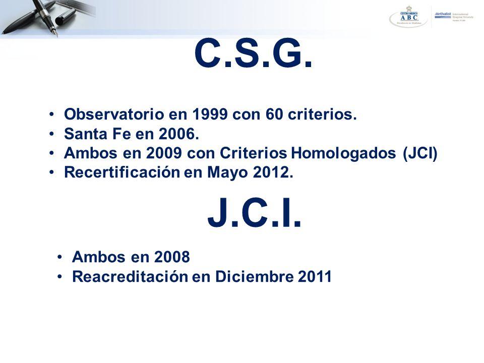 C.S.G. Observatorio en 1999 con 60 criterios. Santa Fe en 2006. Ambos en 2009 con Criterios Homologados (JCI) Recertificación en Mayo 2012. Ambos en 2