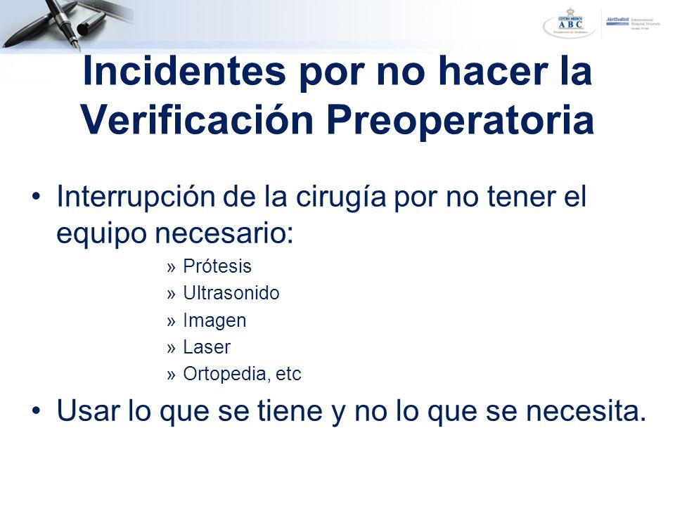 Interrupción de la cirugía por no tener el equipo necesario: »Prótesis »Ultrasonido »Imagen »Laser »Ortopedia, etc Usar lo que se tiene y no lo que se