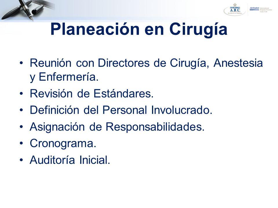 Planeación en Cirugía Reunión con Directores de Cirugía, Anestesia y Enfermería. Revisión de Estándares. Definición del Personal Involucrado. Asignaci