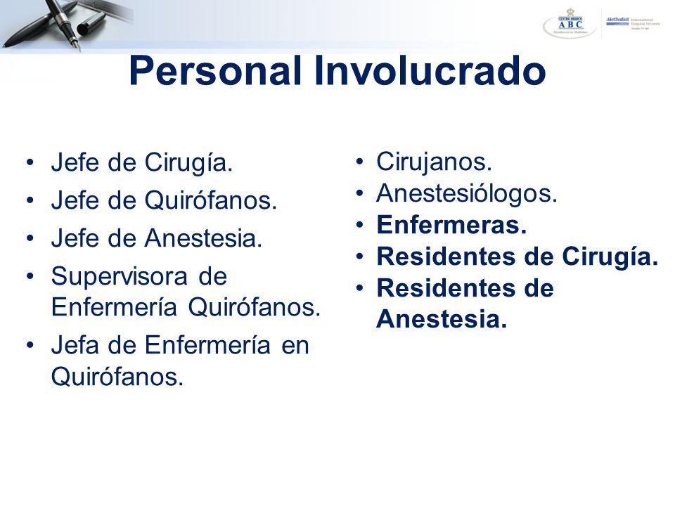 Jefe de Cirugía. Jefe de Quirófanos. Jefe de Anestesia. Supervisora de Enfermería Quirófanos. Jefa de Enfermería en Quirófanos. Personal Involucrado C