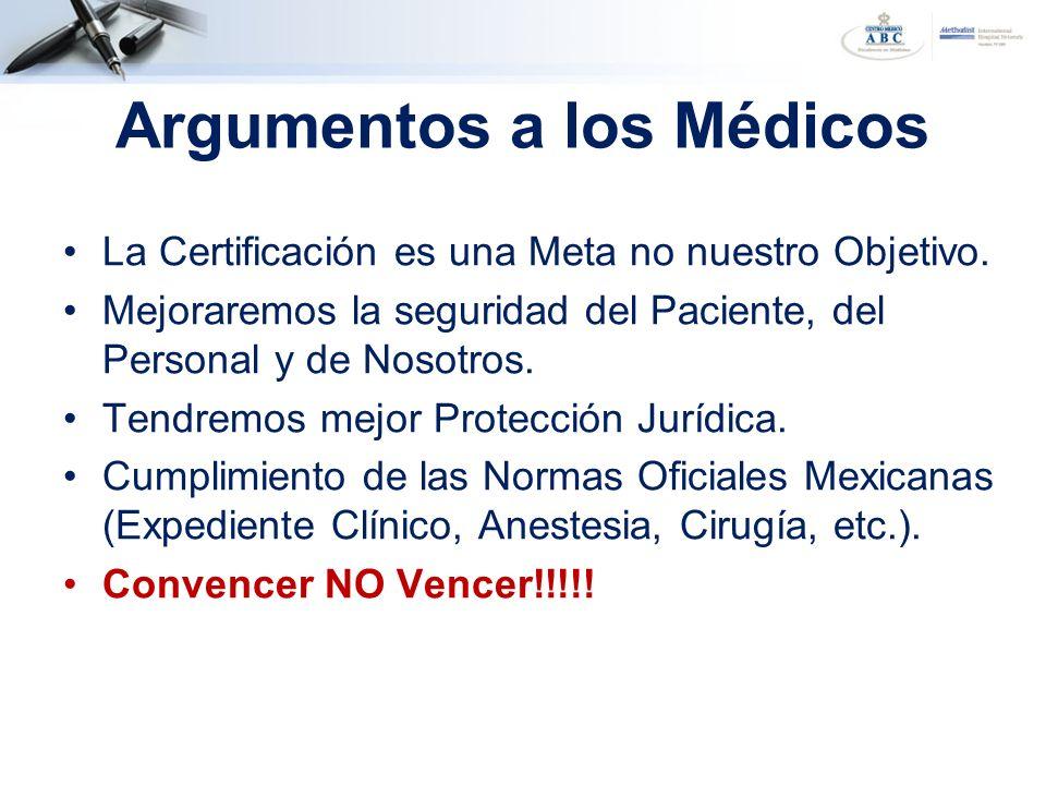 Argumentos a los Médicos La Certificación es una Meta no nuestro Objetivo. Mejoraremos la seguridad del Paciente, del Personal y de Nosotros. Tendremo