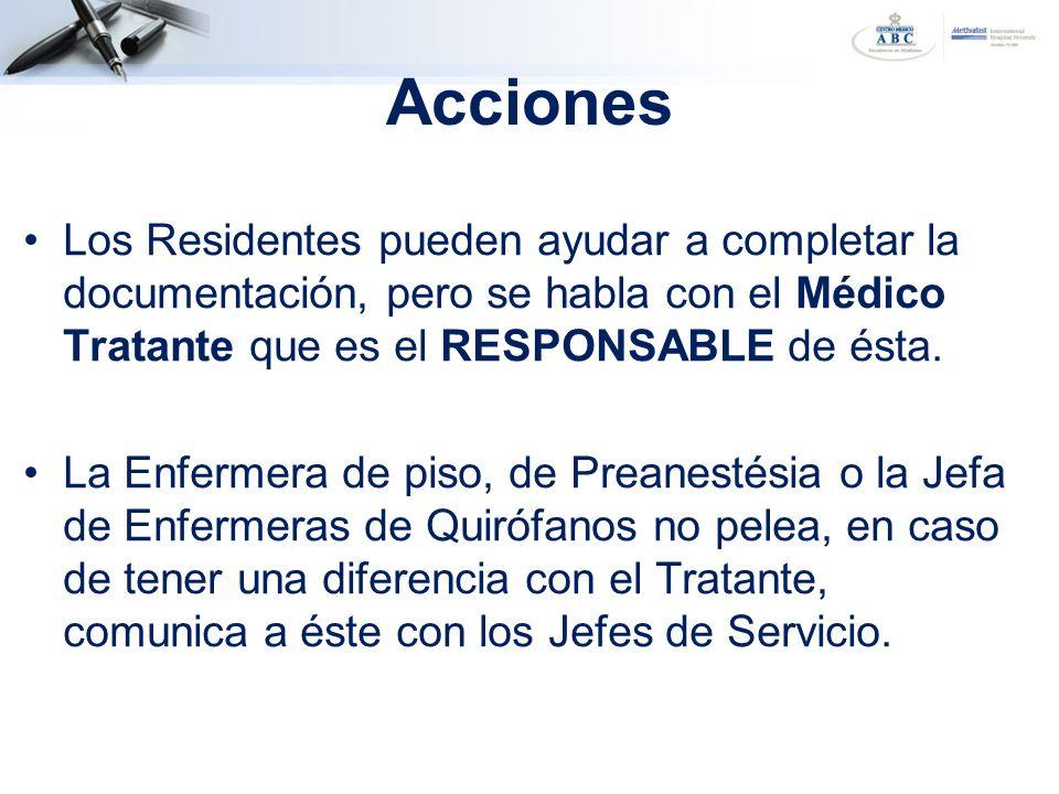 Los Residentes pueden ayudar a completar la documentación, pero se habla con el Médico Tratante que es el RESPONSABLE de ésta. La Enfermera de piso, d
