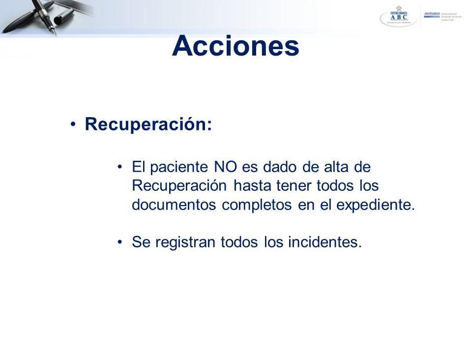 Recuperación: El paciente NO es dado de alta de Recuperación hasta tener todos los documentos completos en el expediente. Se registran todos los incid