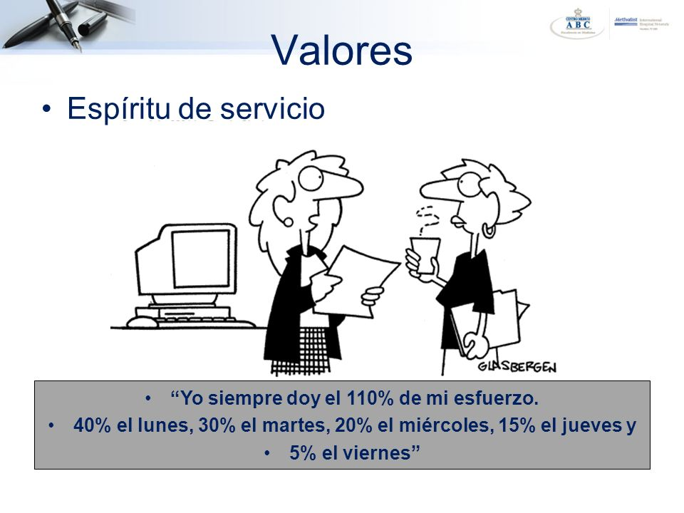 Valores Yo siempre doy el 110% de mi esfuerzo. 40% el lunes, 30% el martes, 20% el miércoles, 15% el jueves y 5% el viernes Espíritu de servicio