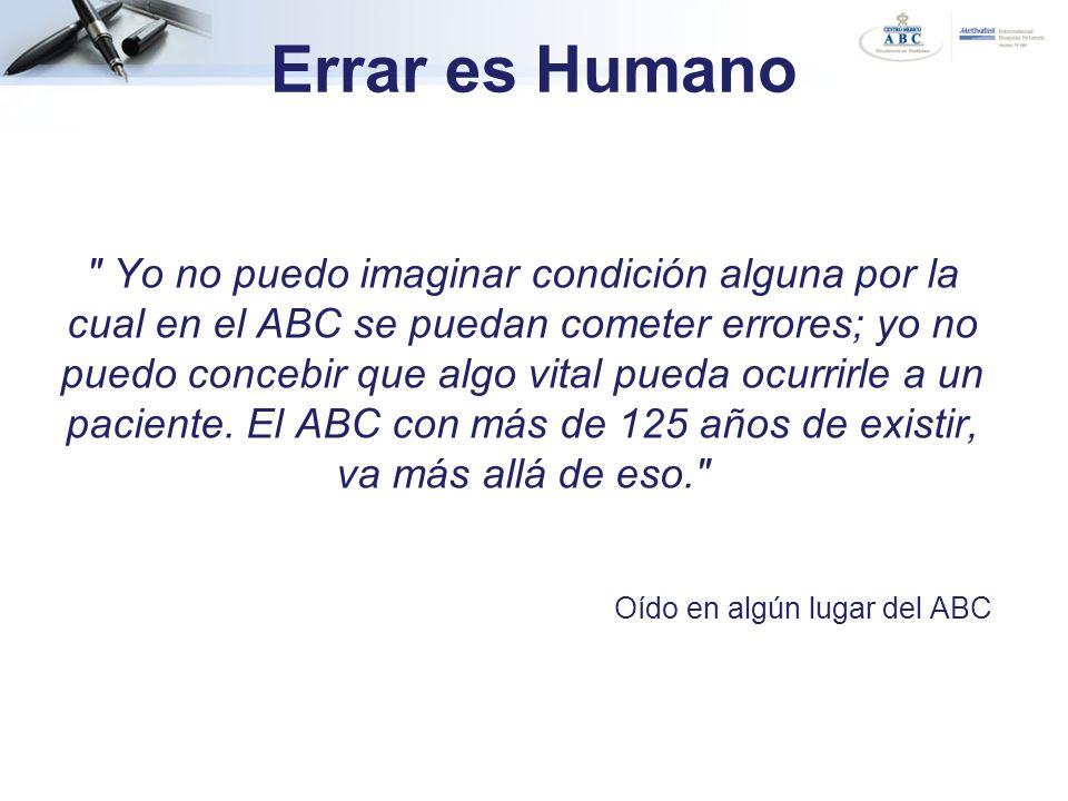 Errar es Humano Los seres humanos cometemos errores en todos los trabajos.