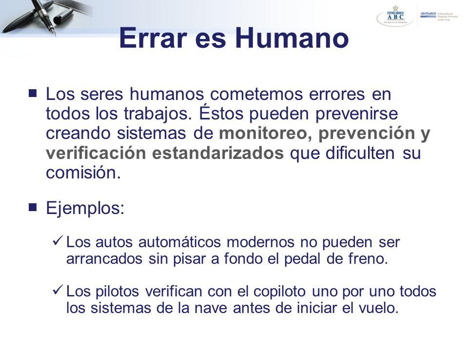 Errar es Humano Los seres humanos cometemos errores en todos los trabajos. Éstos pueden prevenirse creando sistemas de monitoreo, prevención y verific