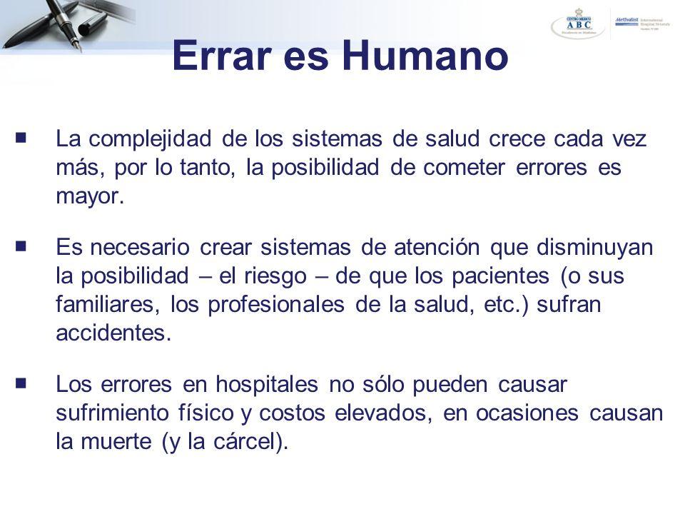 Errar es Humano La complejidad de los sistemas de salud crece cada vez más, por lo tanto, la posibilidad de cometer errores es mayor. Es necesario cre