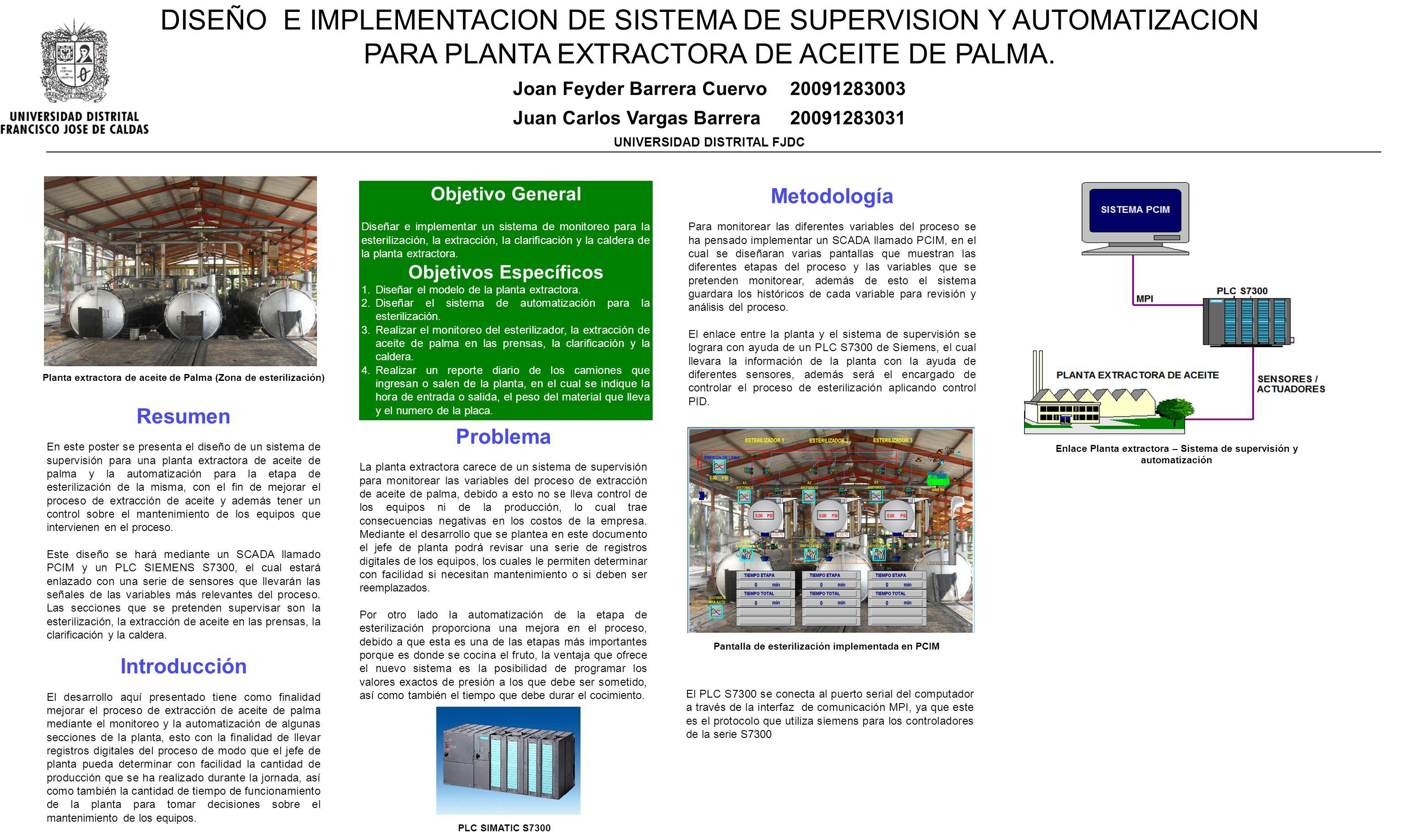Problema La planta extractora carece de un sistema de supervisión para monitorear las variables del proceso de extracción de aceite de palma, debido a