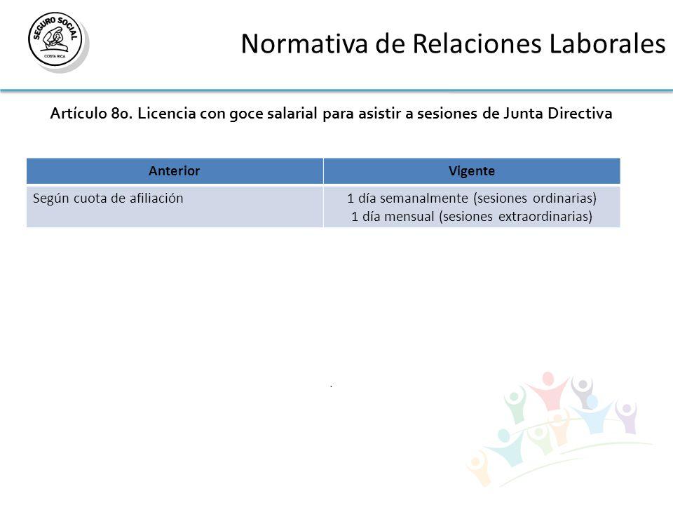 Normativa de Relaciones Laborales Artículo 80. Licencia con goce salarial para asistir a sesiones de Junta Directiva. AnteriorVigente Según cuota de a