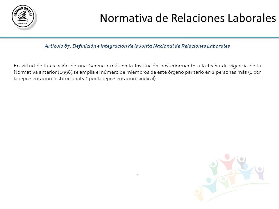 Normativa de Relaciones Laborales Artículo 87. Definición e integración de la Junta Nacional de Relaciones Laborales En virtud de la creación de una G