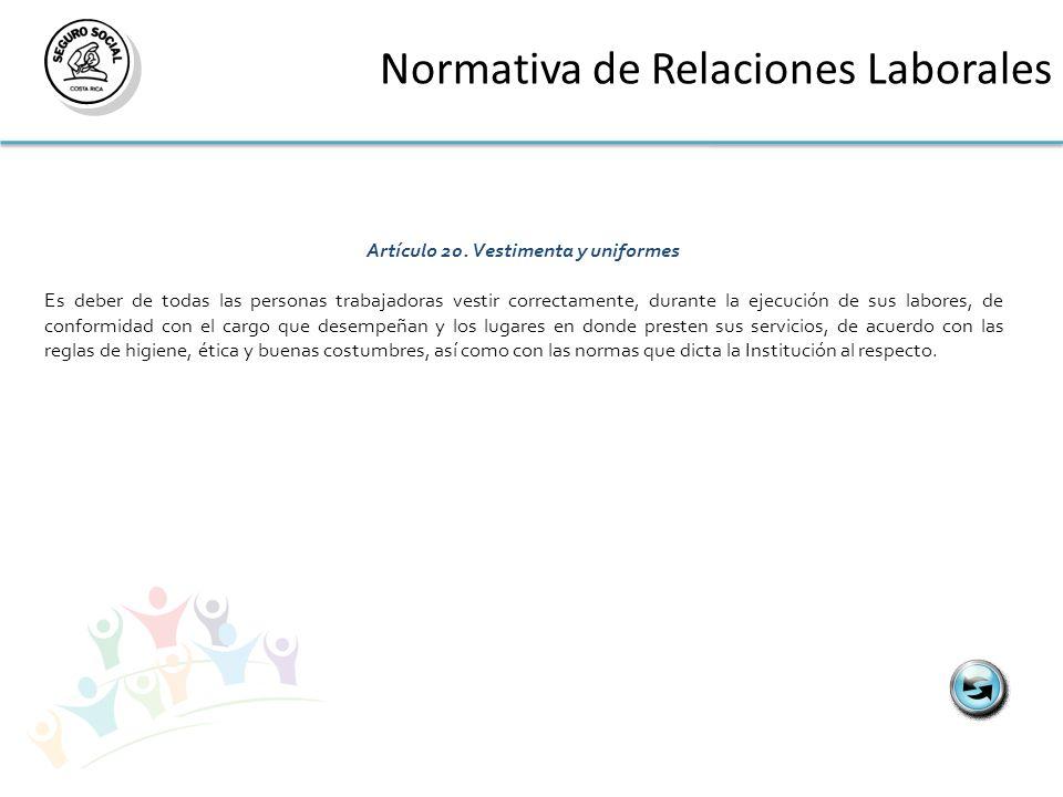 Normativa de Relaciones Laborales Artículo 20.