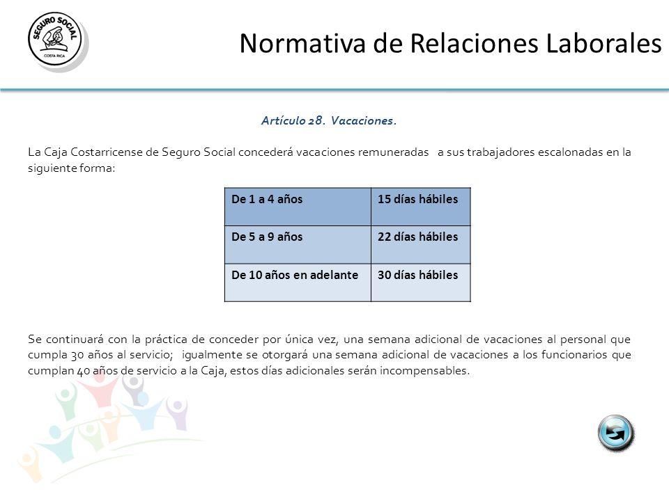 Normativa de Relaciones Laborales Artículo 28. Vacaciones. La Caja Costarricense de Seguro Social concederá vacaciones remuneradas a sus trabajadores
