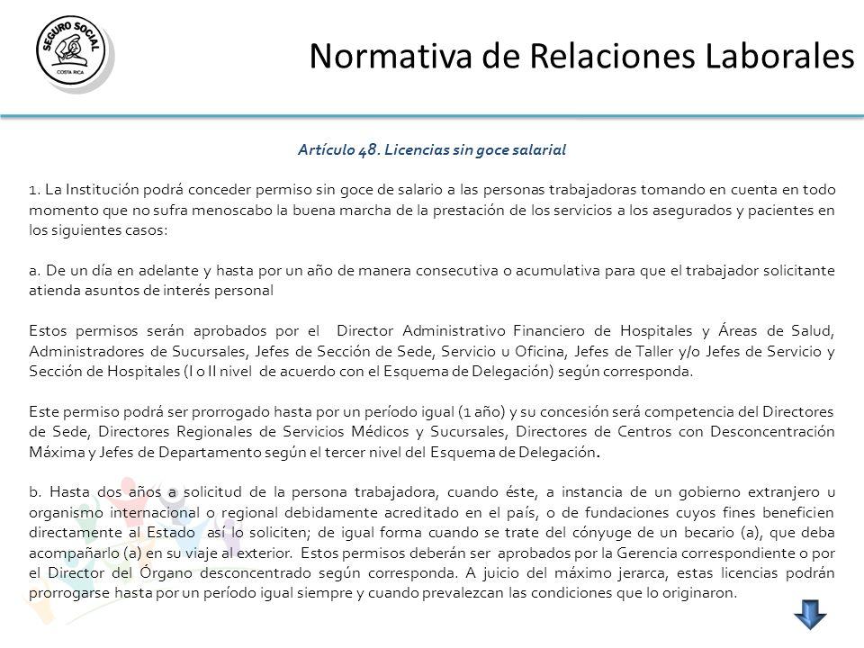 Normativa de Relaciones Laborales Artículo 48. Licencias sin goce salarial 1. La Institución podrá conceder permiso sin goce de salario a las personas