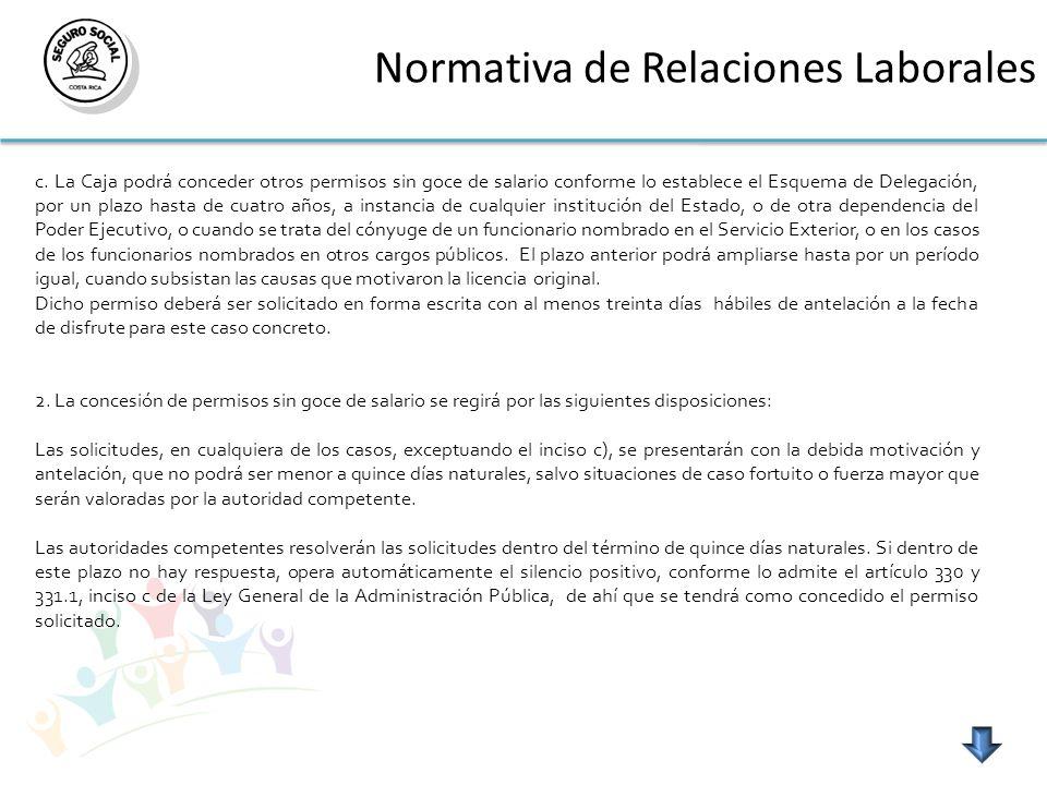 Normativa de Relaciones Laborales c. La Caja podrá conceder otros permisos sin goce de salario conforme lo establece el Esquema de Delegación, por un