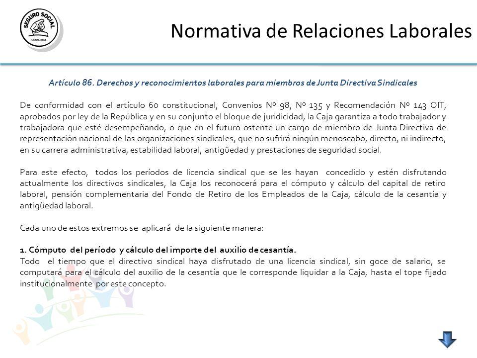Normativa de Relaciones Laborales Artículo 86. Derechos y reconocimientos laborales para miembros de Junta Directiva Sindicales De conformidad con el