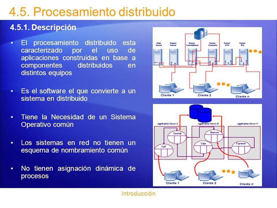 Introducción 4.5.Procesamiento distribuido 4.5.2.