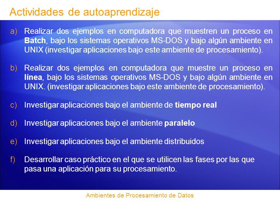 Bibliografía (Unidad IV) http://empresas.sence.cl/batch/index.htm http://www.alegsa.com.ar/Dic/proceso%20batch.php http://msdn.microsoft.com/es-es/library/ms175367(SQL.90).aspx http://www3.unileon.es/dp/abd/tesauro/pagina/tesdocumentacion/00000606.htm http://www.mastermagazine.info/termino/6383.php http://www.ica.luz.ve/carevalo/procesamiento-distribuido-1/c1.html www.hdolder.com/C80212A.htm http://www.dia.eui.upm.es/Asignatu/Curso08-09/pro_par.htm http://www.hdolder.com/C80212A.htm Ambientes de Procesamiento de Datos Aceituno Canal, Vicente Seguridad de la información, expectativas, riesgos y técnicas de protección Limusa/Noriega, 2006 149 p.